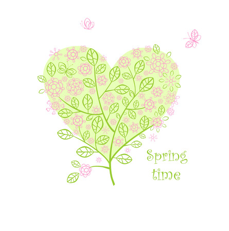 Greeting card with beautiful spring lacy bouquet Vector