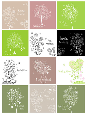 Spring cards with decorative lecy tree Vector