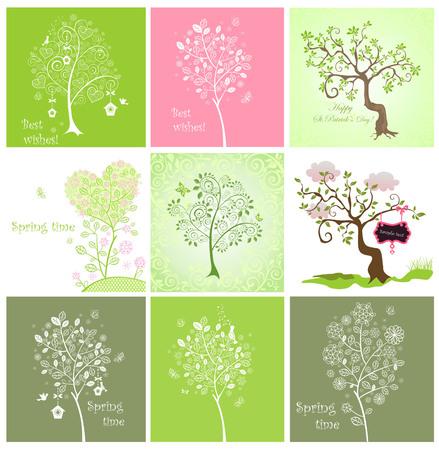 Spring decorative trees Vector