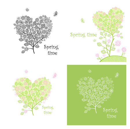 Vintage cards with lacy decorative trees Vector