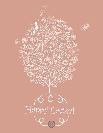 Easter greeting with lacy tree Illustration