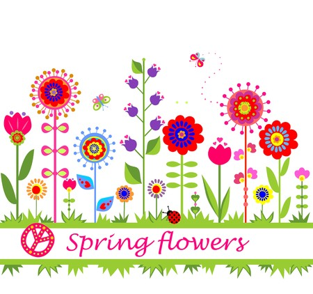 Spring flowers. Seamless border Vector