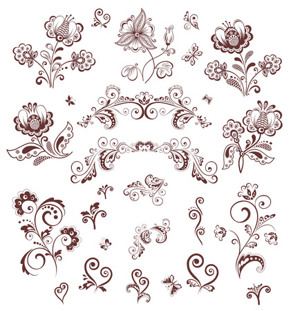 butterfly tattoo design: Retro flowers