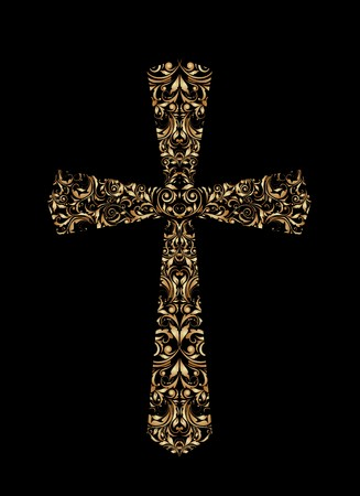 golden religious symbols: Vintage Christian Cross Illustration