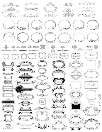 Set of vintage elements (frames, headers, rulers) Vector