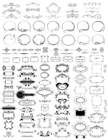 Set of vintage elements (frames, headers, rulers)