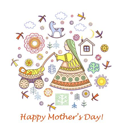 Greeting vintage card for Mothers day Vector