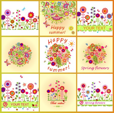 summery: Summery cards with colorful abstract flowers Illustration