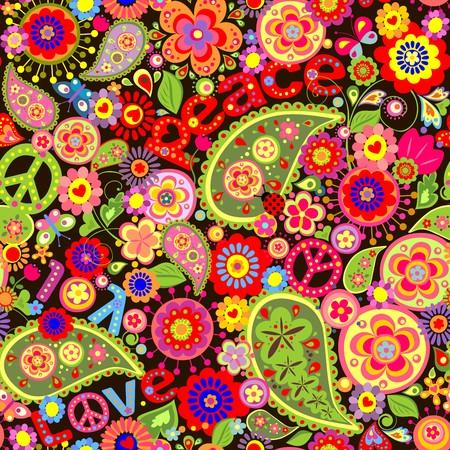 화려한 봄 꽃과 페이즐리가있는 히피 벽지