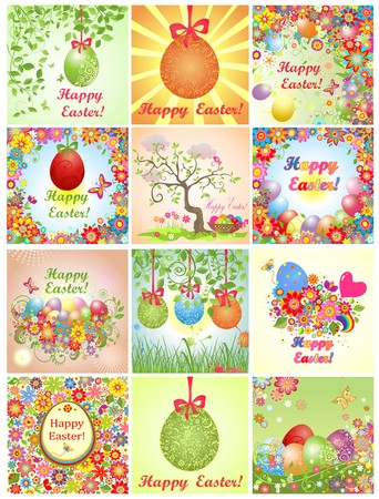 Collection of easter greeting cards with colorful flowers and eggs Illustration