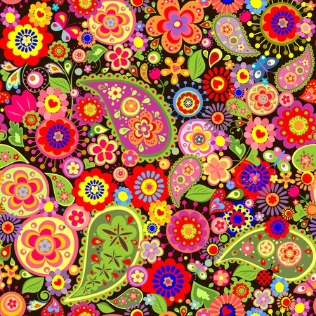 Colorful wallpaper with funny spring flowers and paisley Ilustração