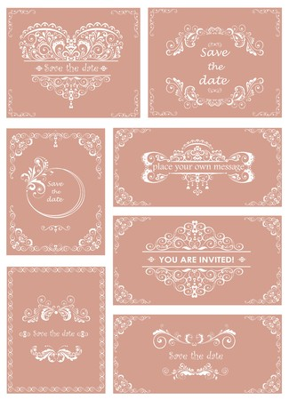 Set of templates for wedding invitations Vector