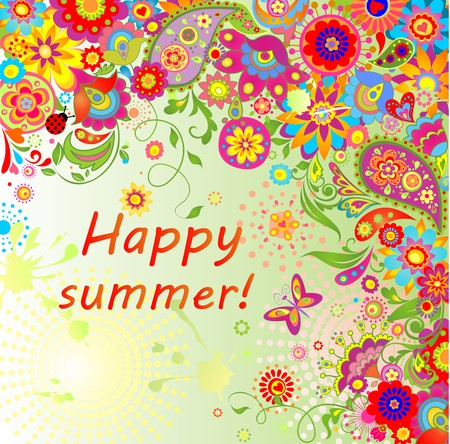 sun flowers: Summery card with paisley and colorful flowers