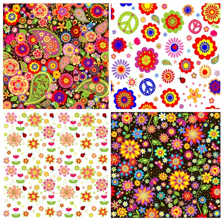 Colorful wallpapers with funny absatrct flowers and paisley Vector