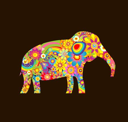daisy vector: Applique with decorative elephant with colorful flowers print