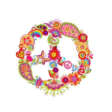 flowerpower: Peace flower symbol with paisley and abstract colorful flowers