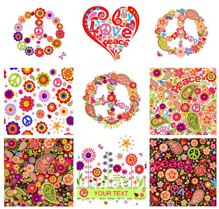 peace and love: Hippie backgrounds and design elements