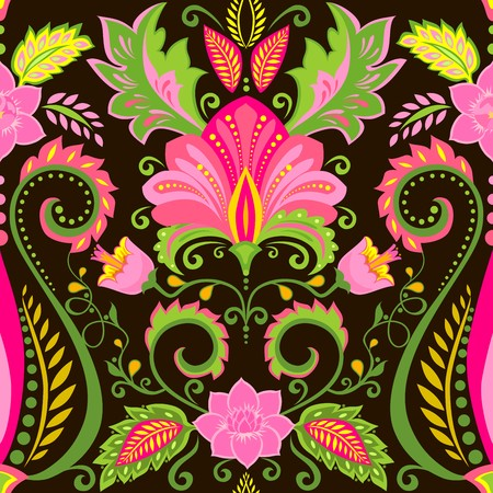 Wallpaper with vintage floral ornament Vector