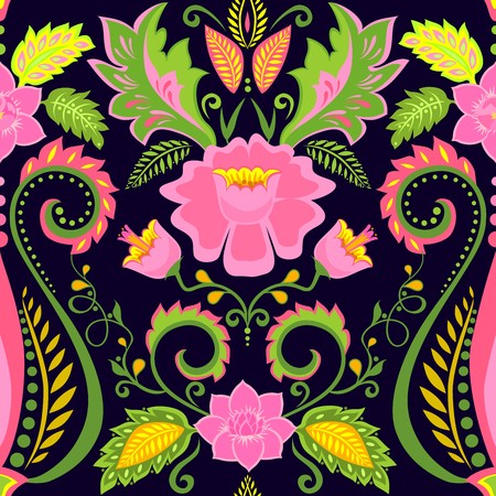 Ornate wallpaper with exotic flowers Vector