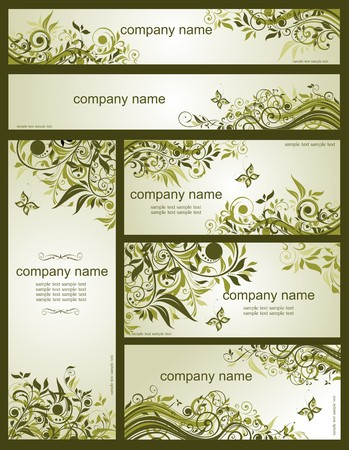 engagement: Collection of floral retro olive templates Illustration