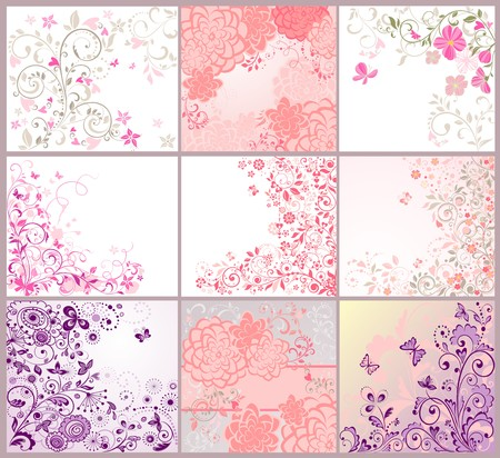 vector ornament: Collection of greeting beautiful floral cards