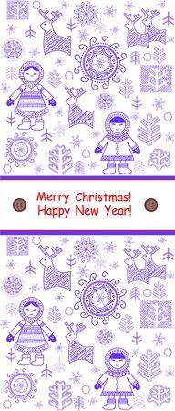 eskimo: Greeting winter vertical card with eskimo