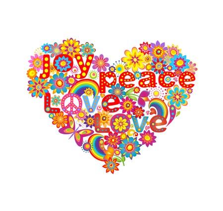 simbolo paz: Forma de corazón con coloridas flores y hippie simbólica Vectores