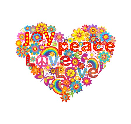 symbol of peace: Heart shape with colorful flowers and hippie symbolic Illustration