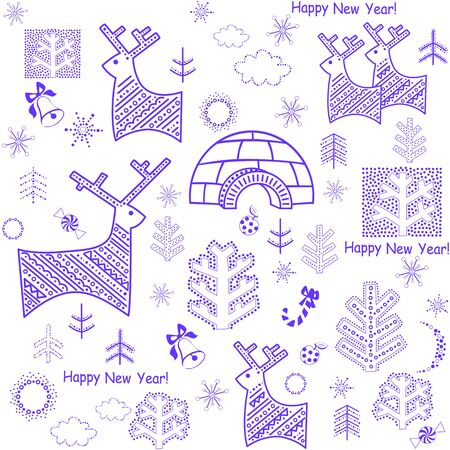 pine apple: New years wallpaper with reindeers and igloo