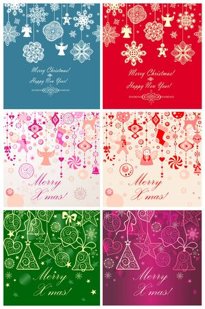 ornaments vector: Seamless xmas cards Illustration