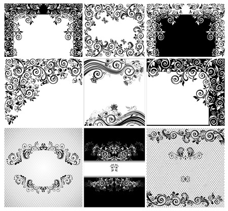 heading: Vintage black and whites floral cards