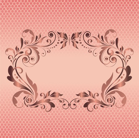 ornaments vector: Vintage floral frame with lacy background