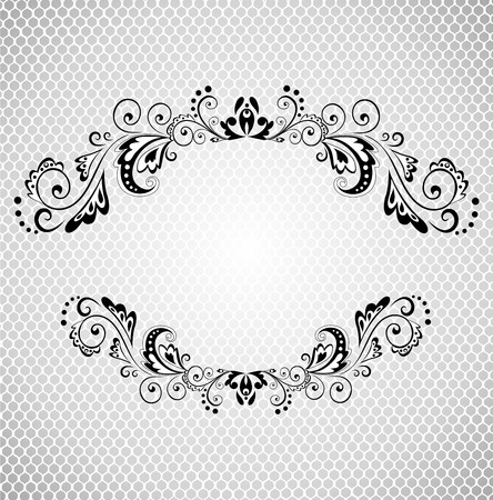 ornamented: Vintage frame with lacy background black and white Illustration