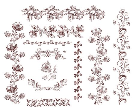 flamy: Vintage retro floral seamless borders and design elements Illustration