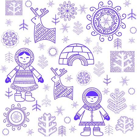 esquimales: Invierno fondo de pantalla abstracto con Eskimo y iglú Vectores