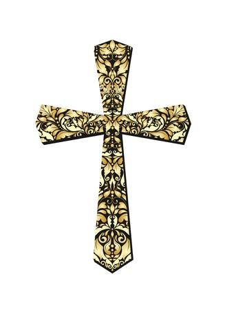 Christian ornate gold cross 일러스트