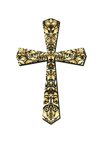 gold cross: Christian ornate gold cross Illustration