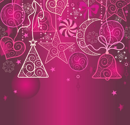 christmas bell: Christmas wallpaper with hanging decoration