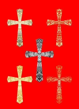 Collection des croix chrétiennes Banque d'images - 43825360
