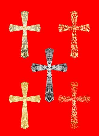 Collection of Christian crosses Illustration