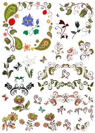retro flowers: Design with retro flowers Illustration