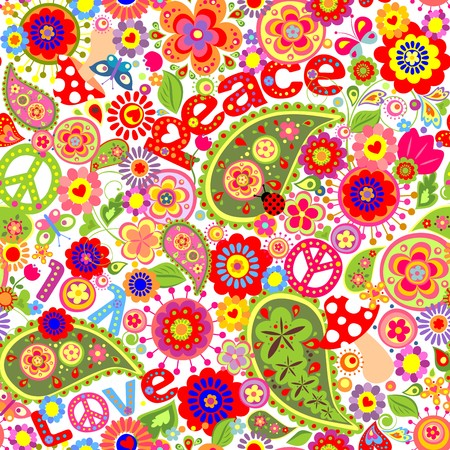 Hippie childish colorful wallpaper with mushrooms and poppies  イラスト・ベクター素材
