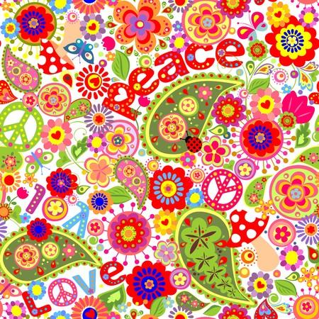 Hippie infantile sfondo colorato con funghi e papaveri