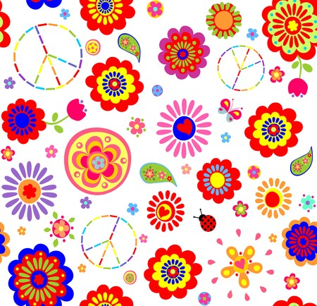 flowerpower: Hippie childish colorful wallpaper