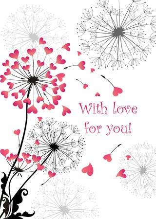floral vectors: Lovely greeting with dandelions