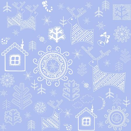 childish: New Years blue wallpaper with winter print