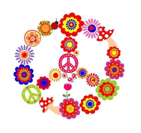 flower power: Peace flower symbol with mushrooms