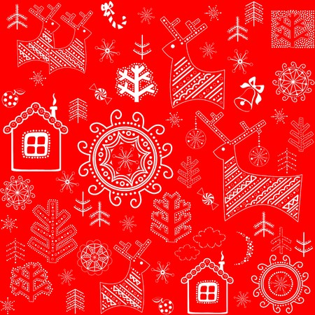 red wallpaper: Red wallpaper with winter print