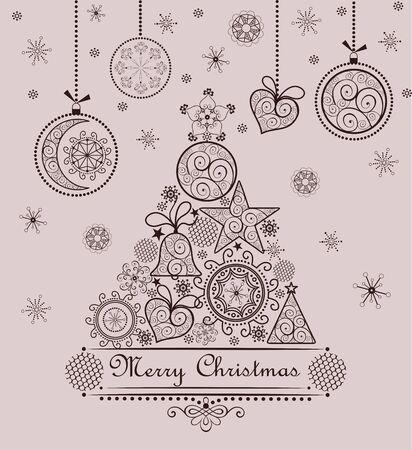 seasonal greeting: Retro seasonal greeting with lacy xmas tree and hanging baubles