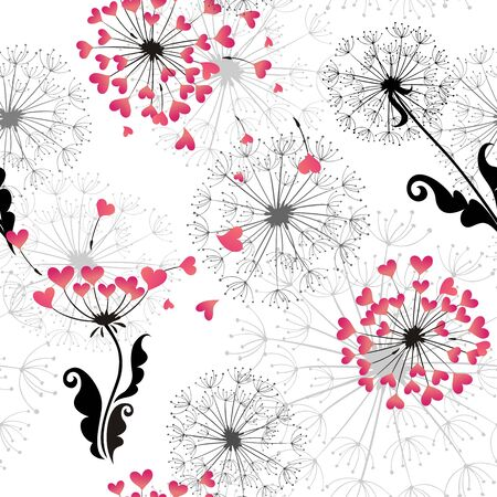 dispersal: Seamless background with dandelions